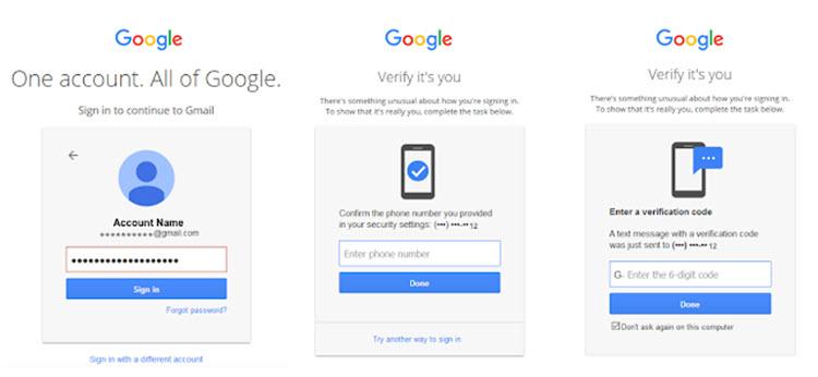 Verificación en dos pasos Google