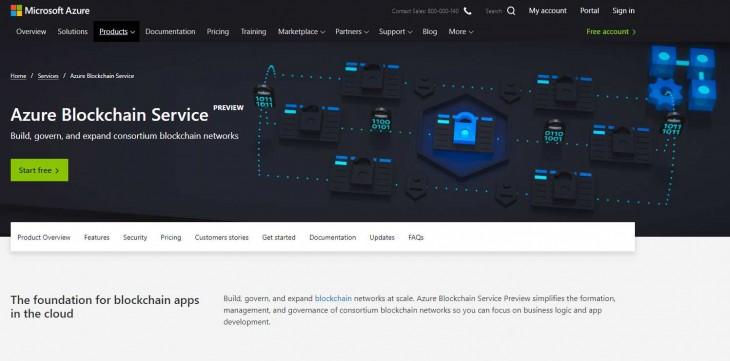 Web de Azure Blockchain Service