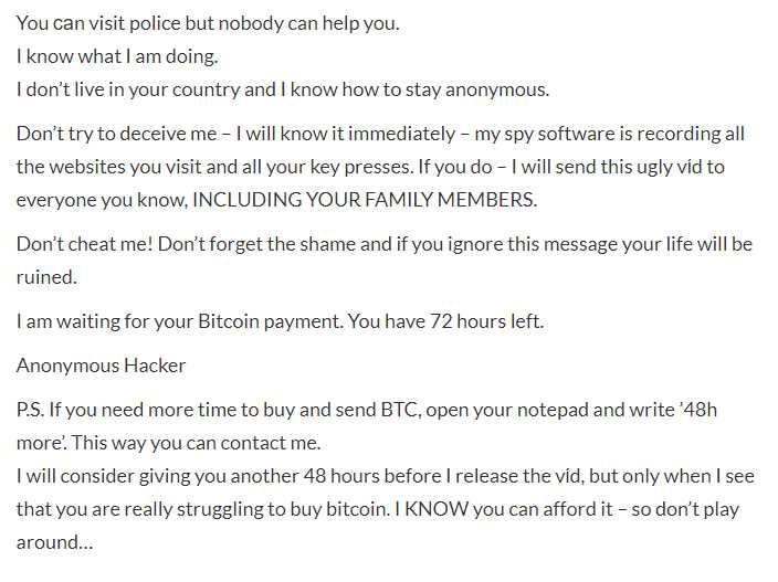 Segunda parte del email, donde dice que puede conseguir más tiempo para el pago