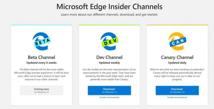 Opciones para bajar Microsoft Edge en el programa Insider