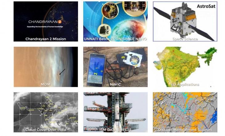 Parte de la web de ISRO, la agencia espacial de India