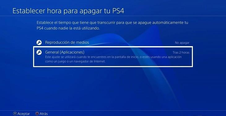 Hora de apagado de PS4