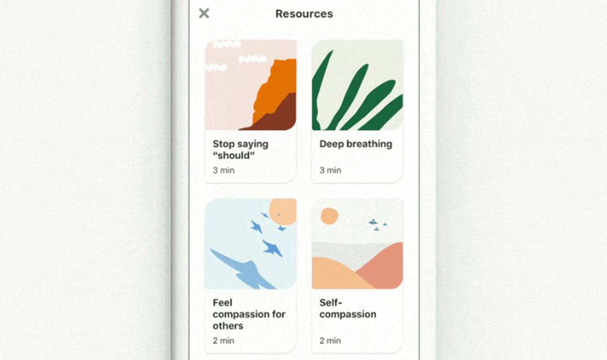 Pinterest lanza actividades de bienestar emocional