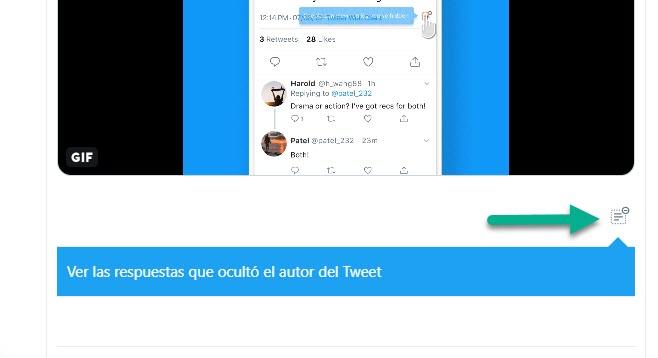 Twitter respuestas ocultas