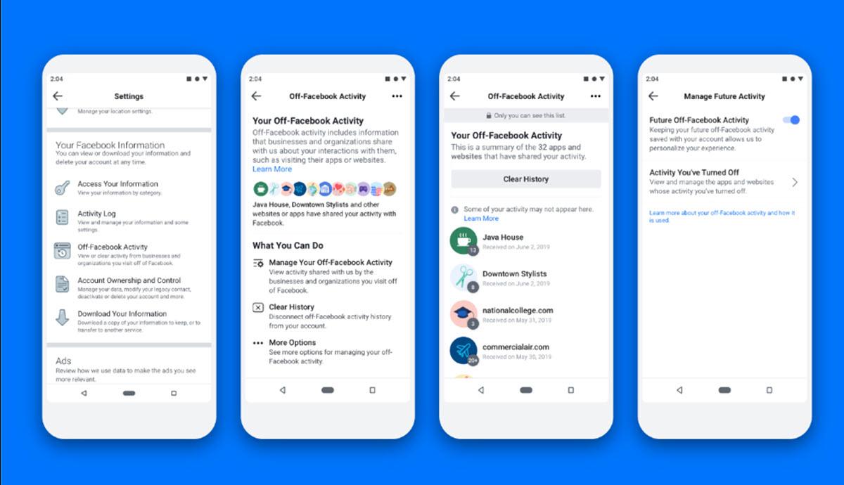 Facebook ahora permite controlar los datos compartidos desde apps y webs