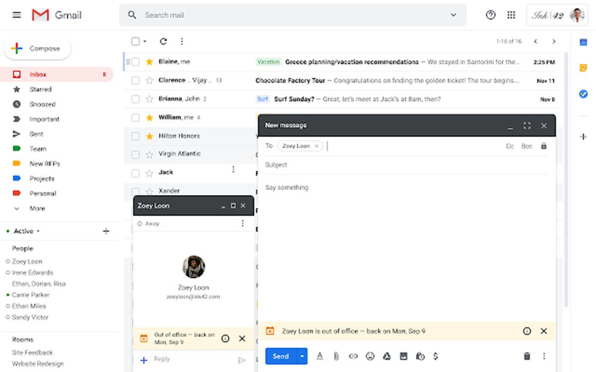 El modo «Fuera de la oficina» ahora se muestra en Gmail y Hangouts Chat