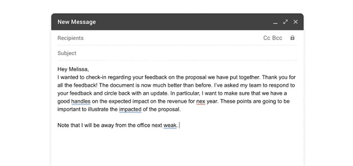 Gmail mejora la corrección ortográfica y gramatical