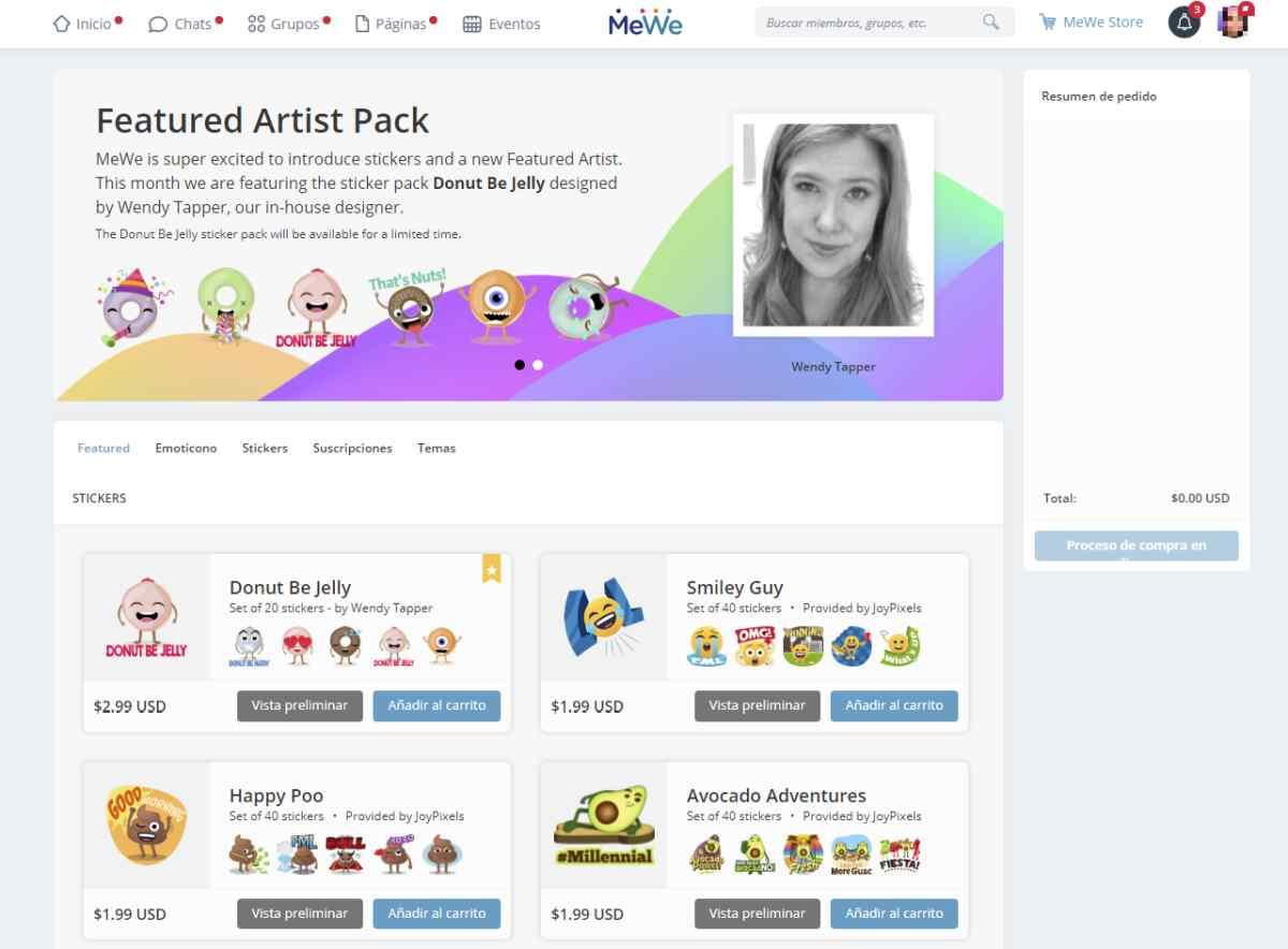 MeWe ya dispone de paquetes de pegatinas para comprar y usar en las conversaciones