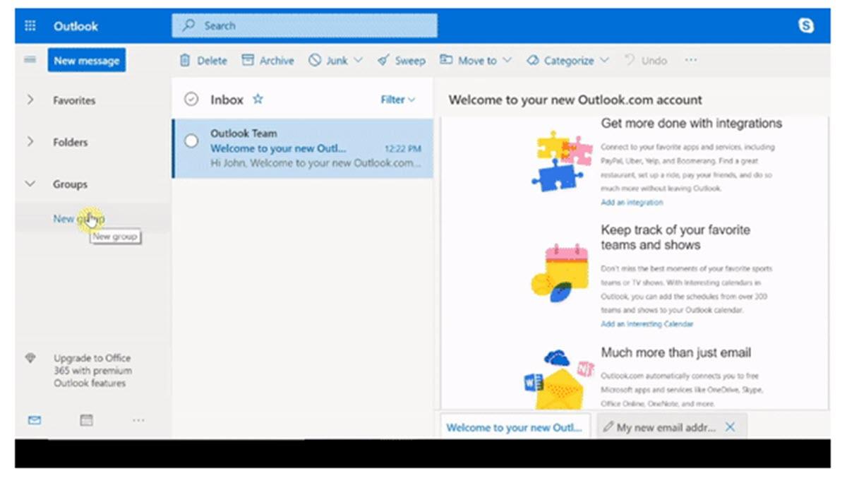 Outlook permite crear grupos para compartir mensajes, archivos y eventos