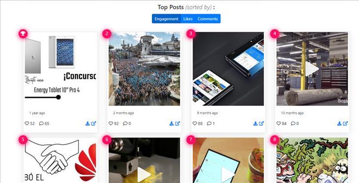 top100posts, para encontrar el contenido más popular de cualquier cuenta de Instagram