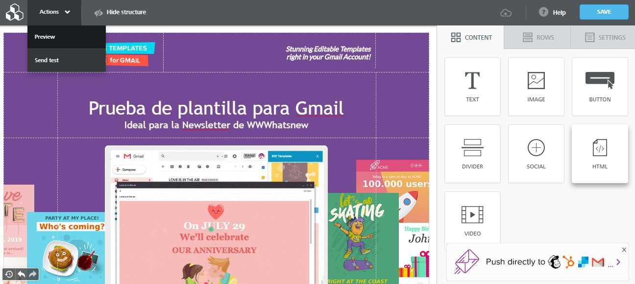 Un editor gratuito para hacer diseño de emails