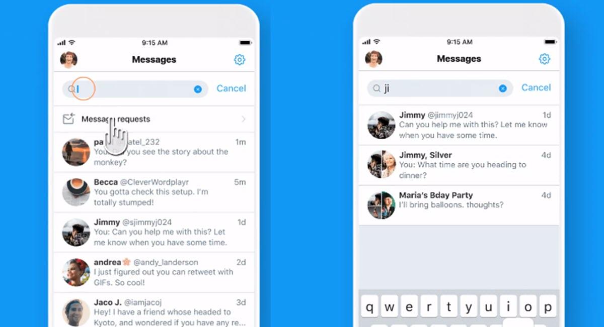 Twitter implementa un buscador para los mensajes directos