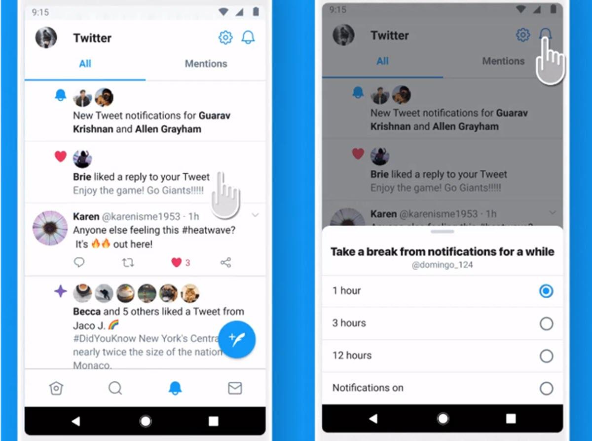Twitter prueba seguir temas y silenciar notificaciones en Android