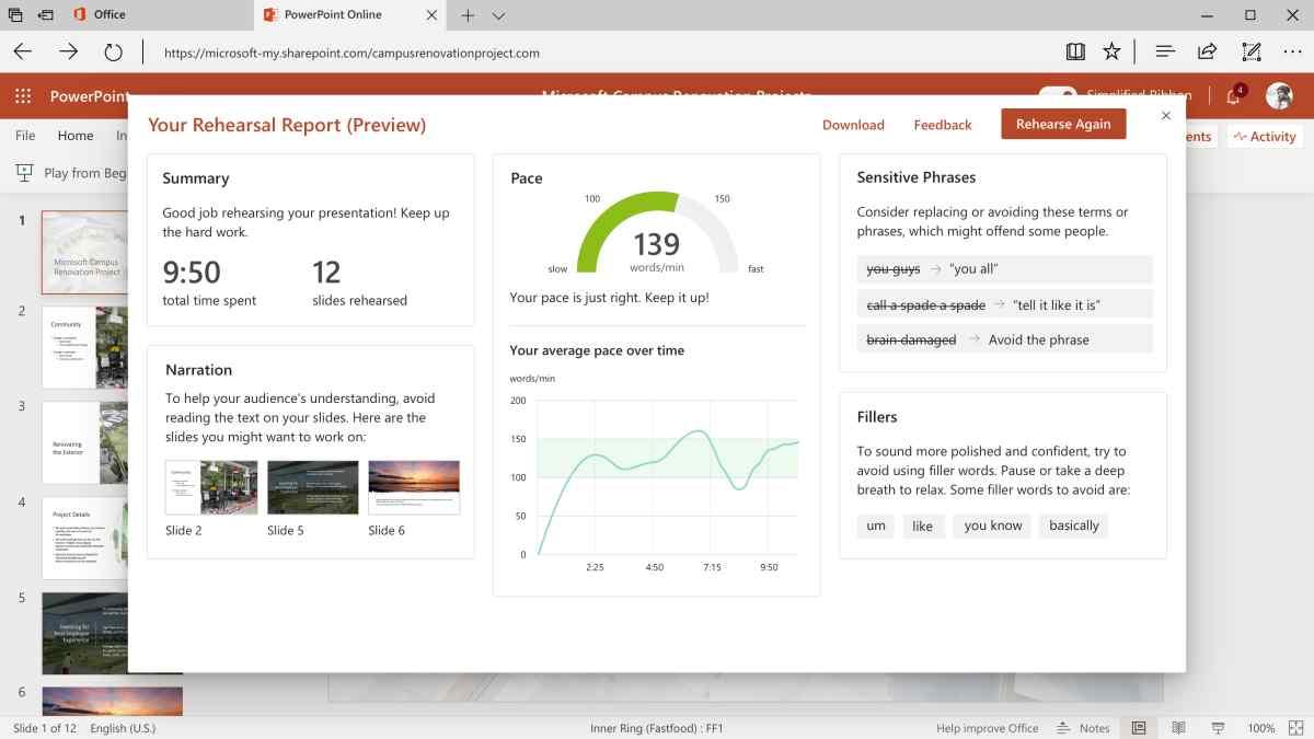 Llega la herramienta de entrenamiento de presentaciones a PowerPoint en la web
