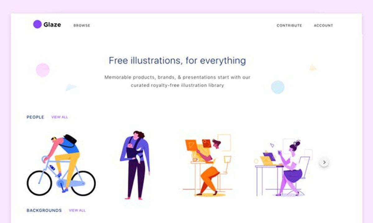 Glaze, ilustraciones gratuitas de diferentes temáticas