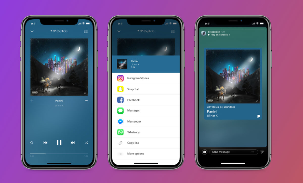 Pandora ahora permite compartir música en las historias de Instagram