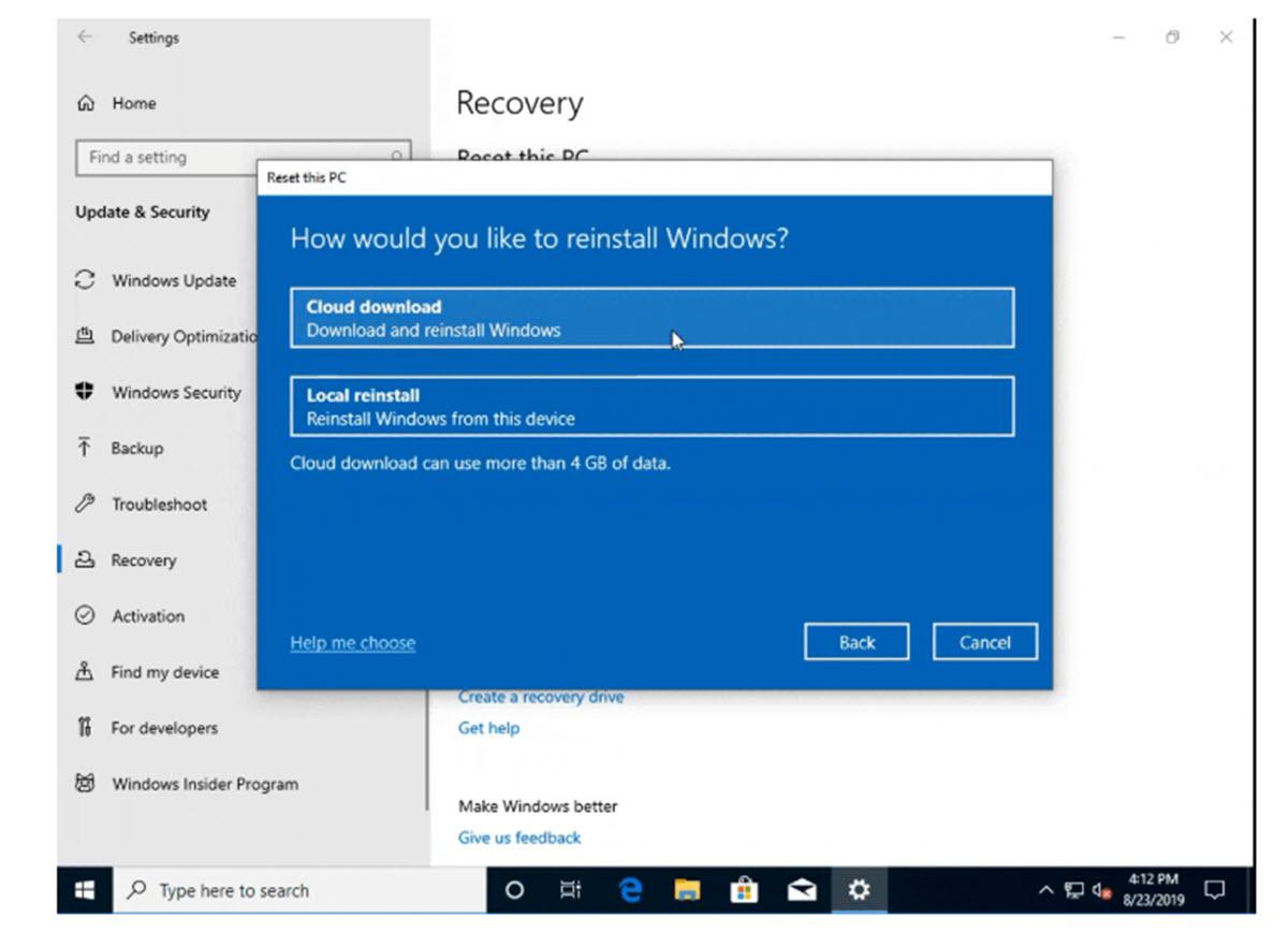 Microsoft permitirá reinstalar Windows 10 desde la nube