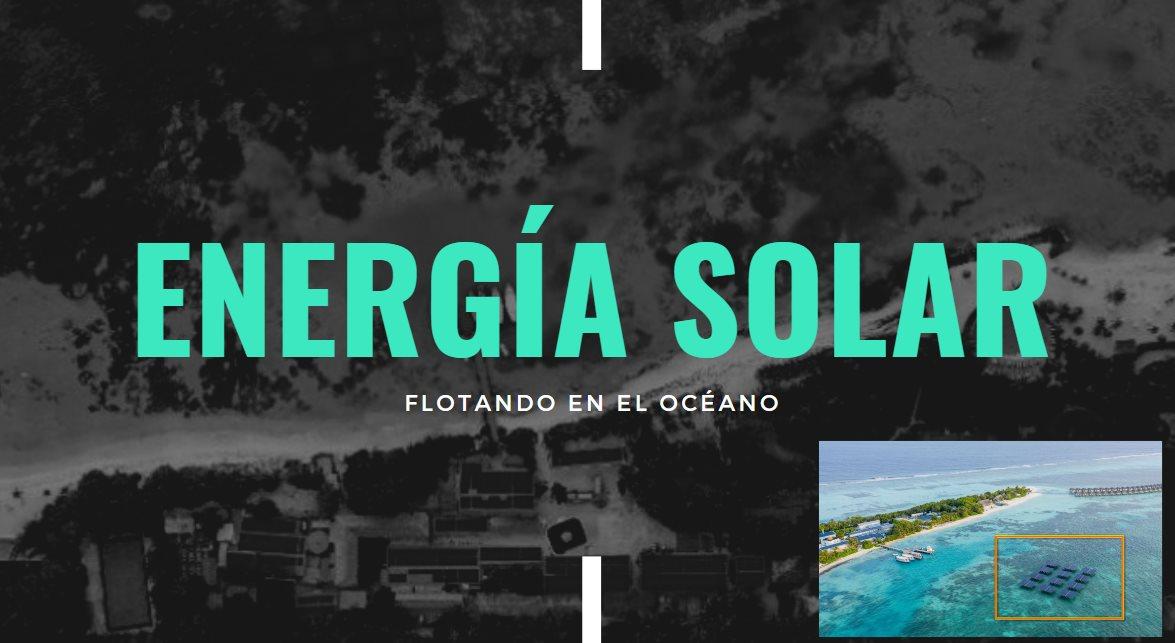 Una estación solar flotando en el océano para alimentar una isla