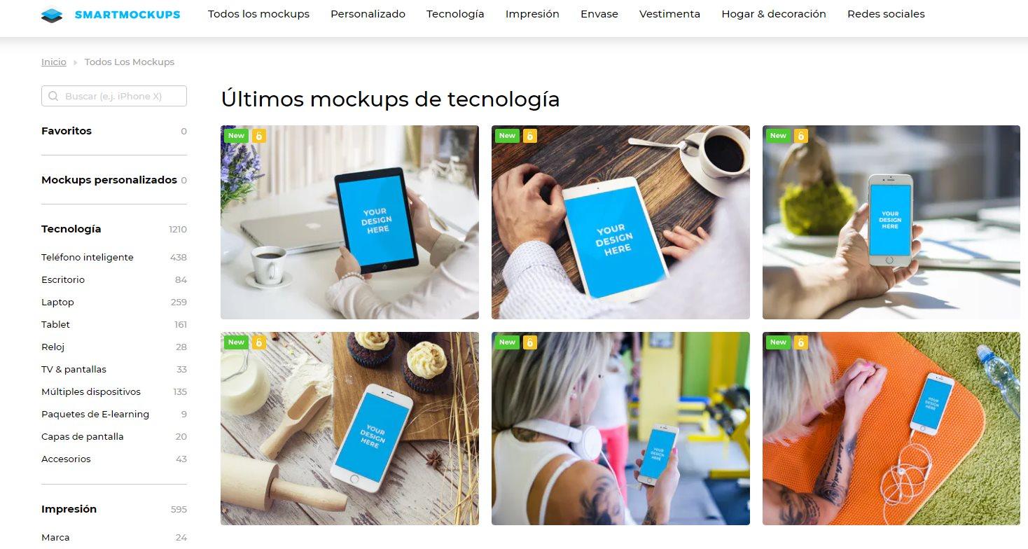 Smartmockups ya está en español, para crear mockups sin usar Photoshop