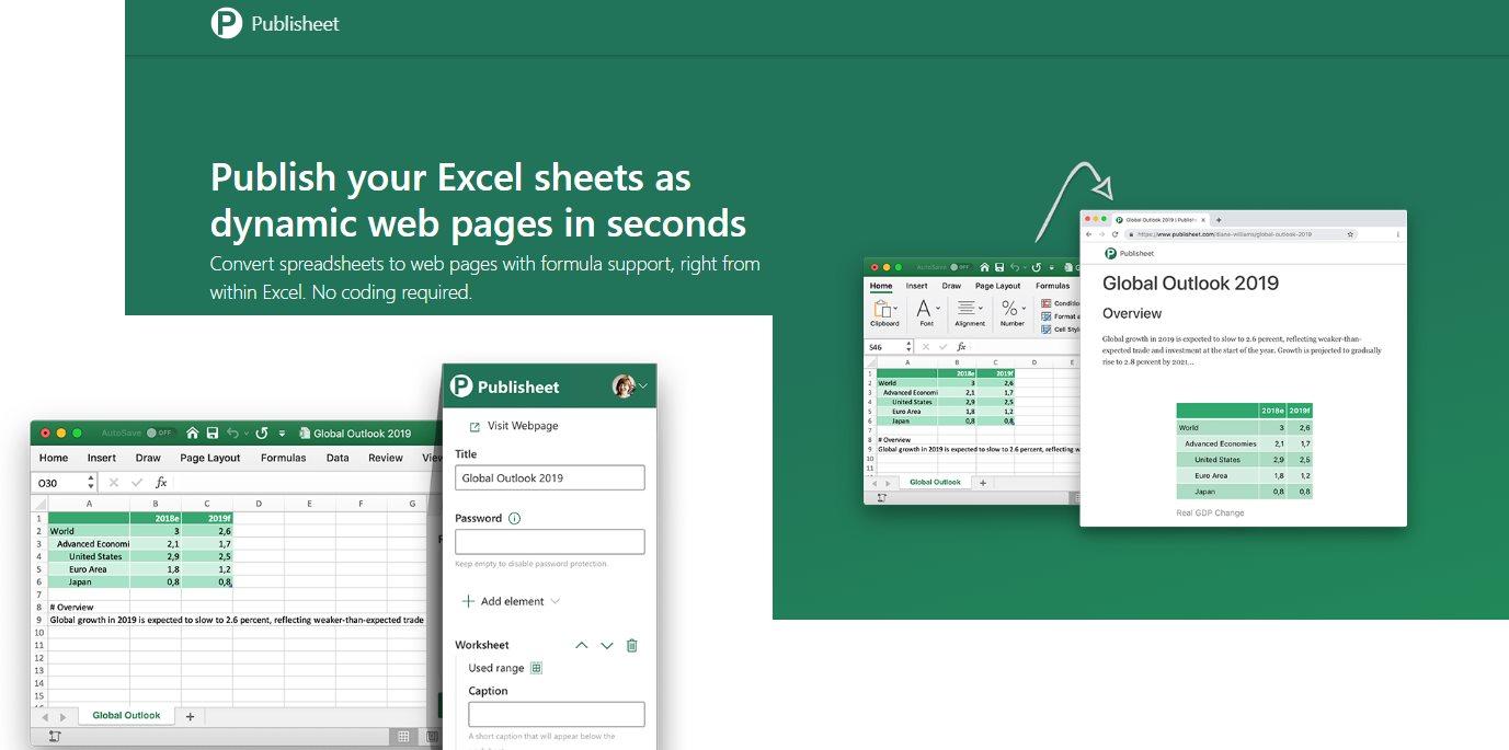 Para transformar hojas de Excel en páginas web