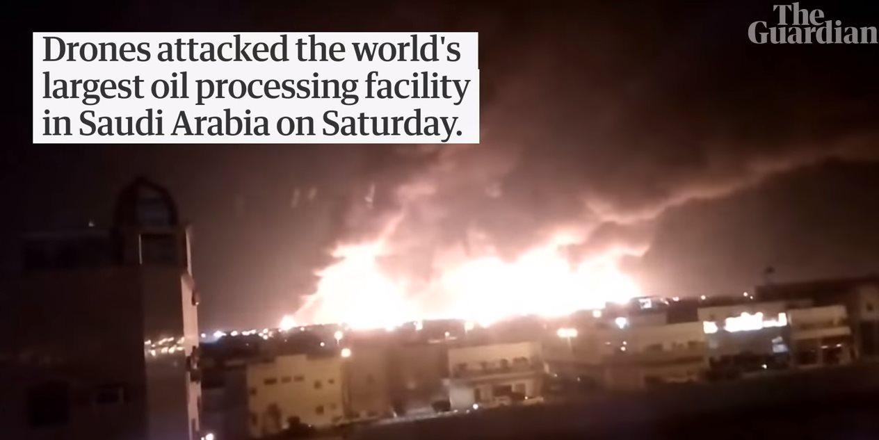 Ataque coordinado de drones reduce suministro de petróleo en Arabia Saudita