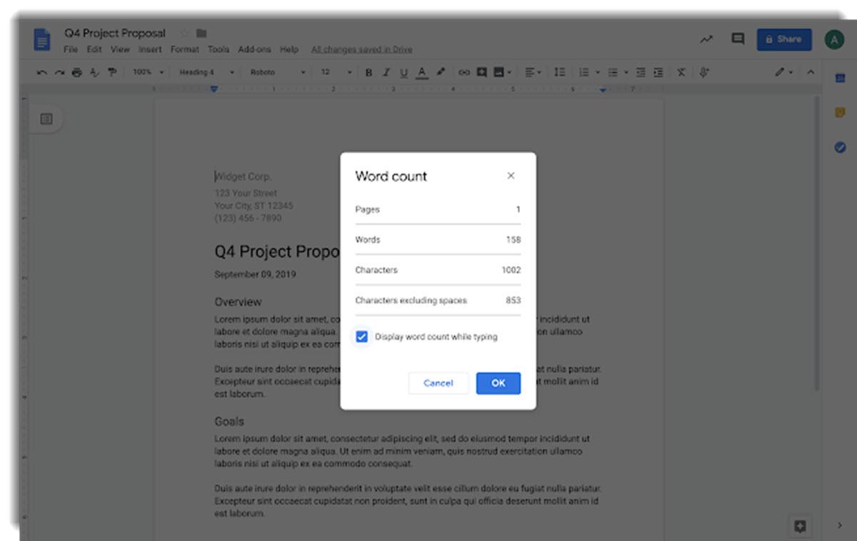 Google Docs ya tiene un contador de palabras en tiempo real