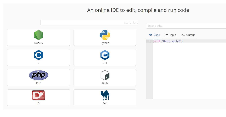 mycompiler, para probar código en varios lenguajes directamente desde la web