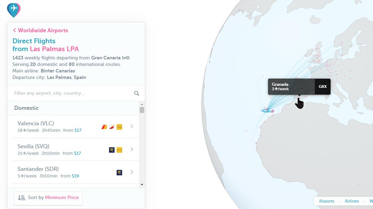 Esta web te muestra vuelos sin escalas desde cualquier aeropuerto