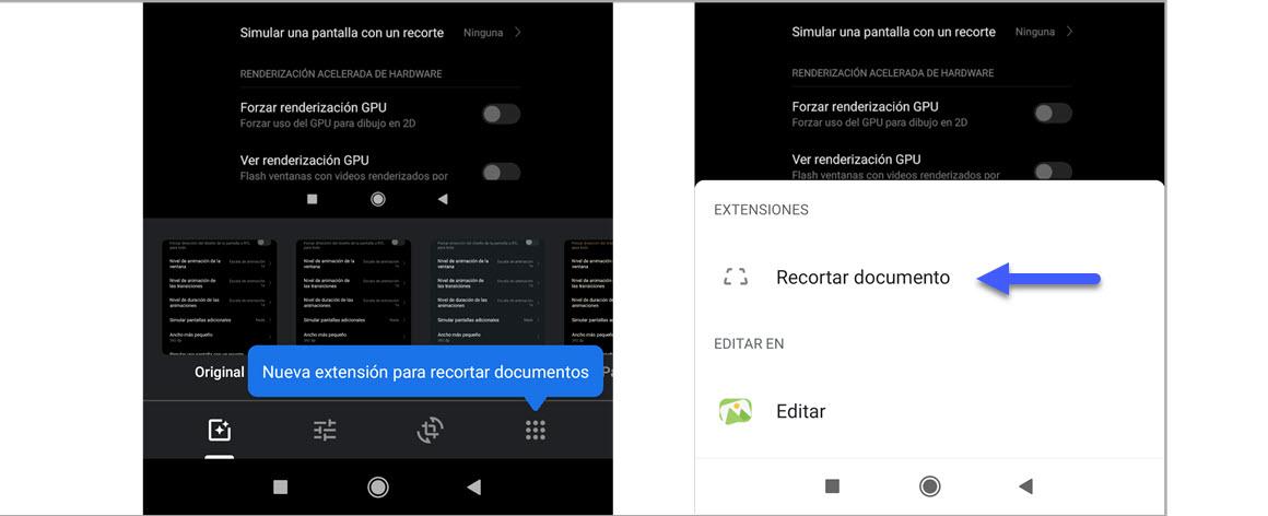 Google Fotos para Android tiene extensión para recortar documentos