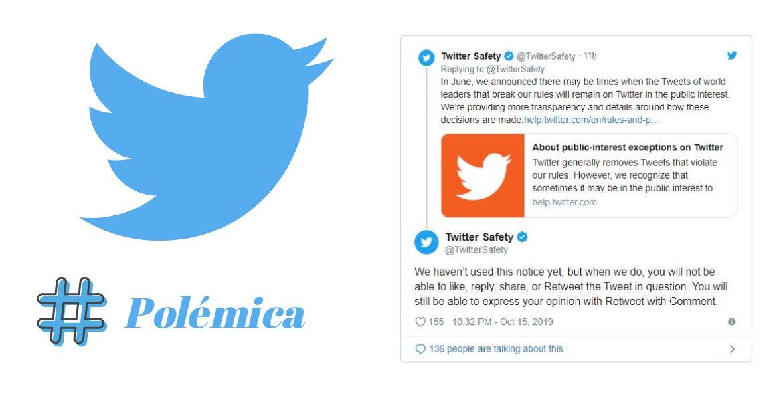 Nueva regla: no podremos interactuar con tweets polémicos de políticos