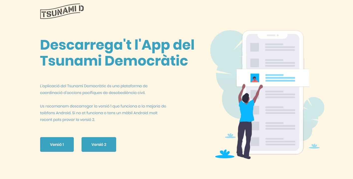 La app de Tsunami Democràtic que han creado para participar de las protestas en Cataluña
