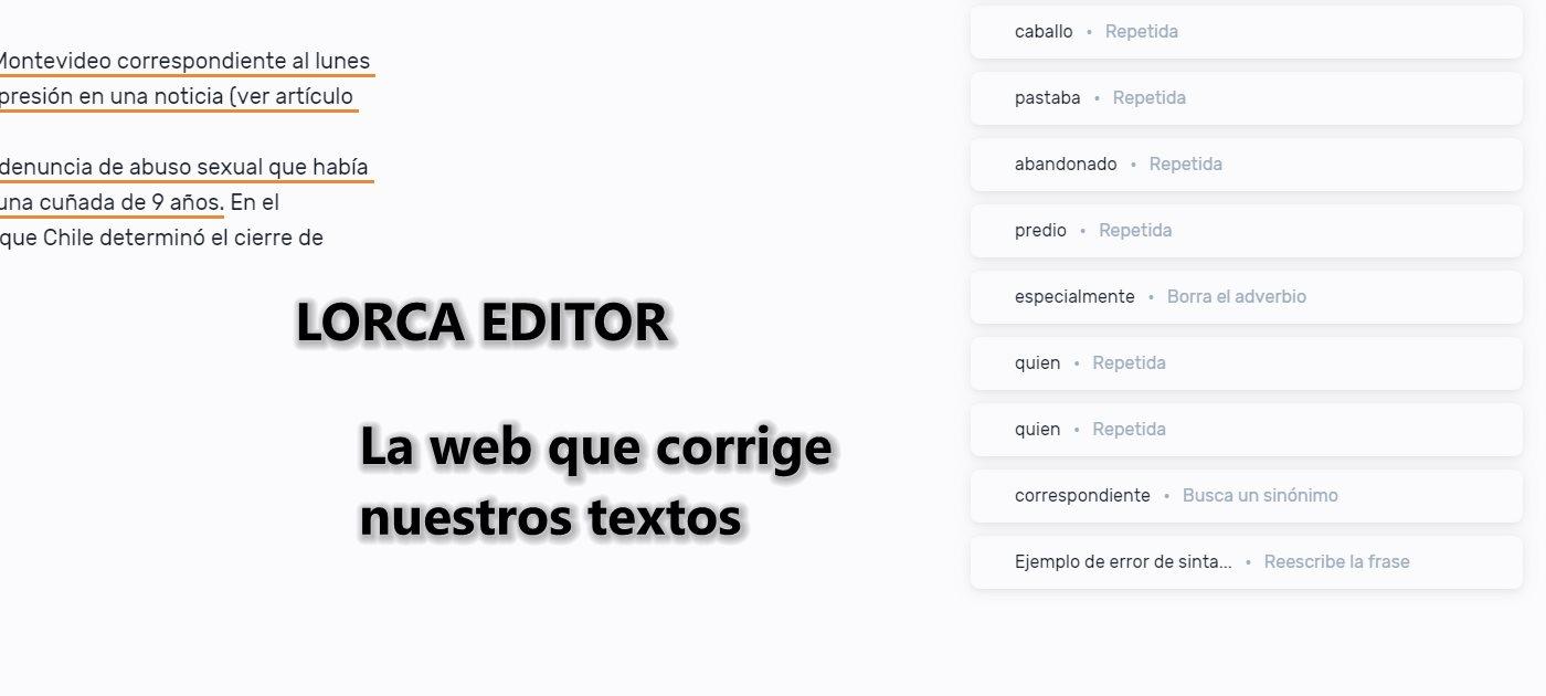 Lorca Editor, una web para corregir nuestros textos en castellano