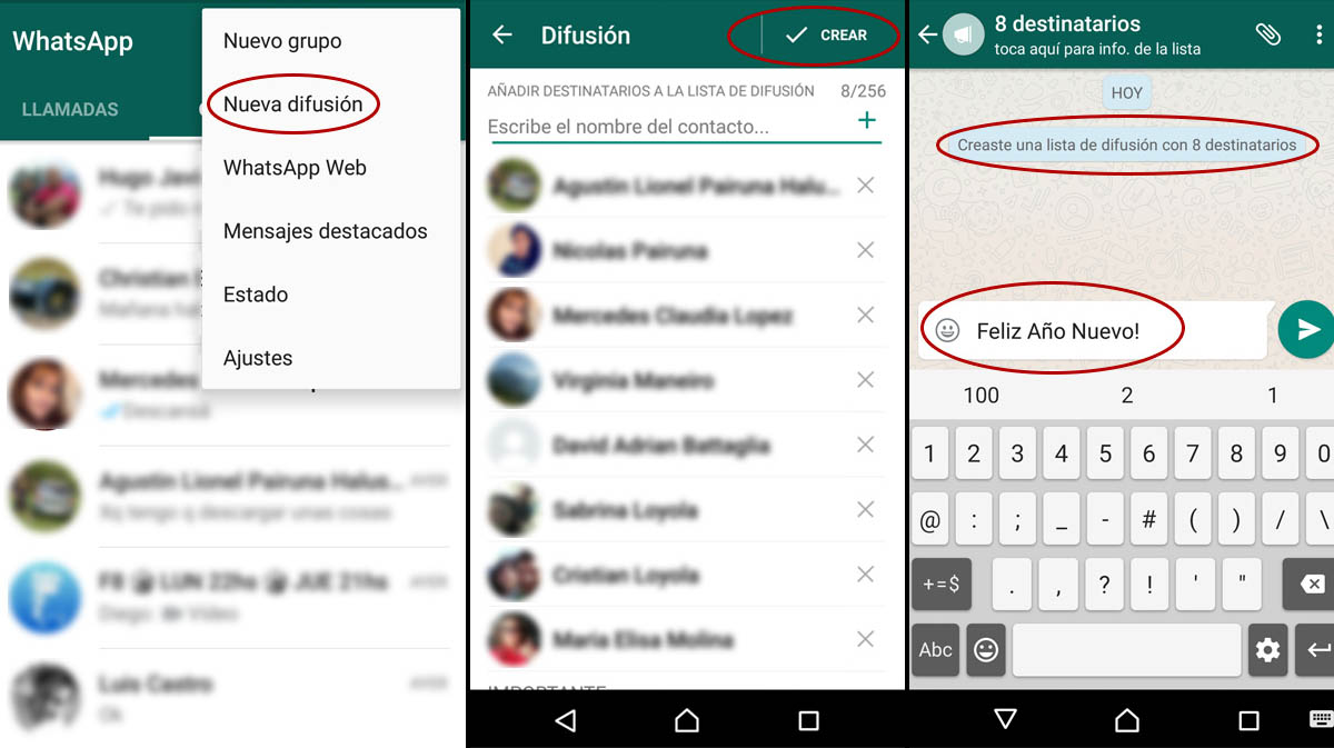 mensaje de difunsion en whatsapp
