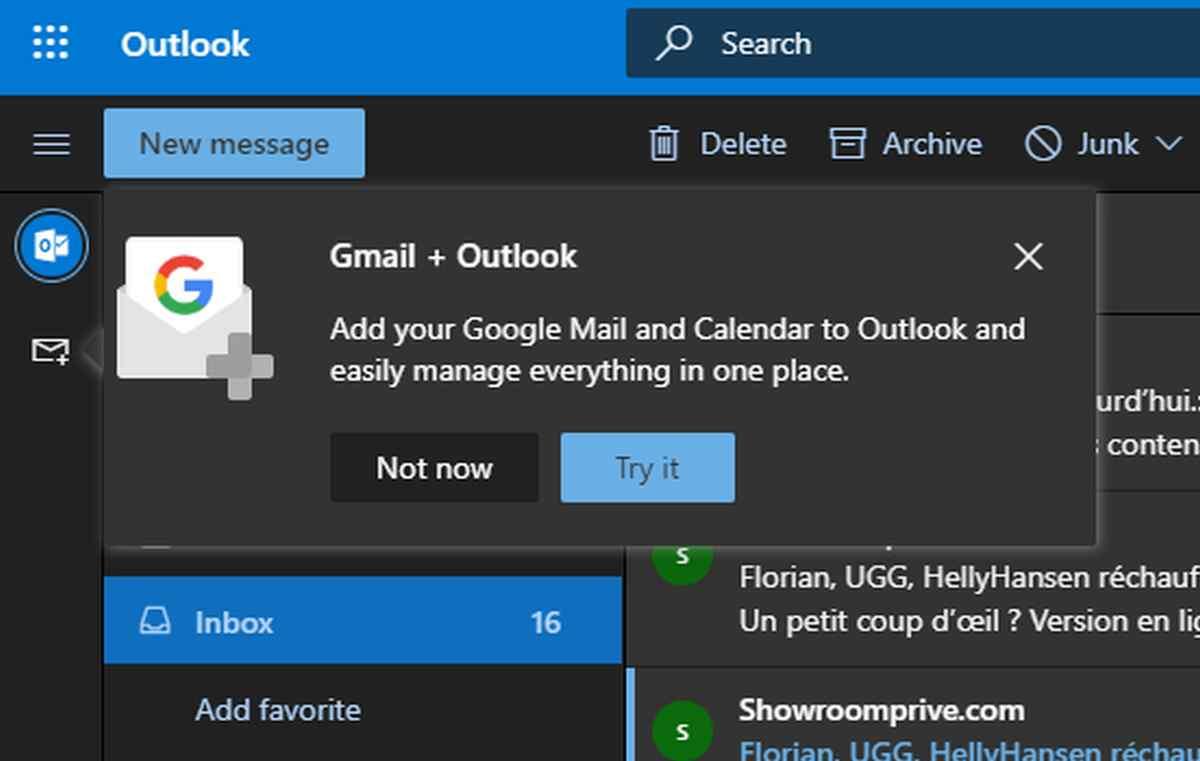 Microsoft comienza a probar la integración de las cuentas de Google en la web de Outlook