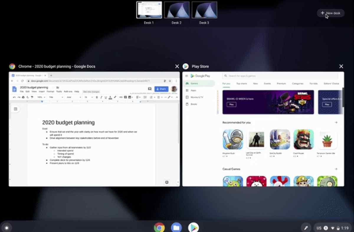 Chrome OS ya permite organizar el trabajo en escritorios virtuales