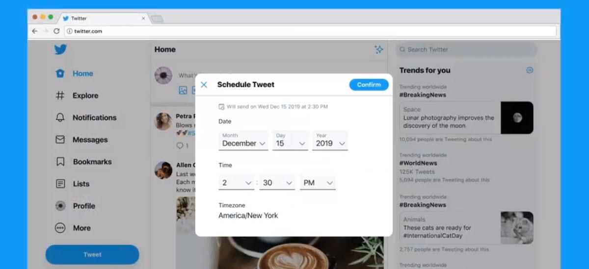 Twitter está probando programar tweets desde la versión web