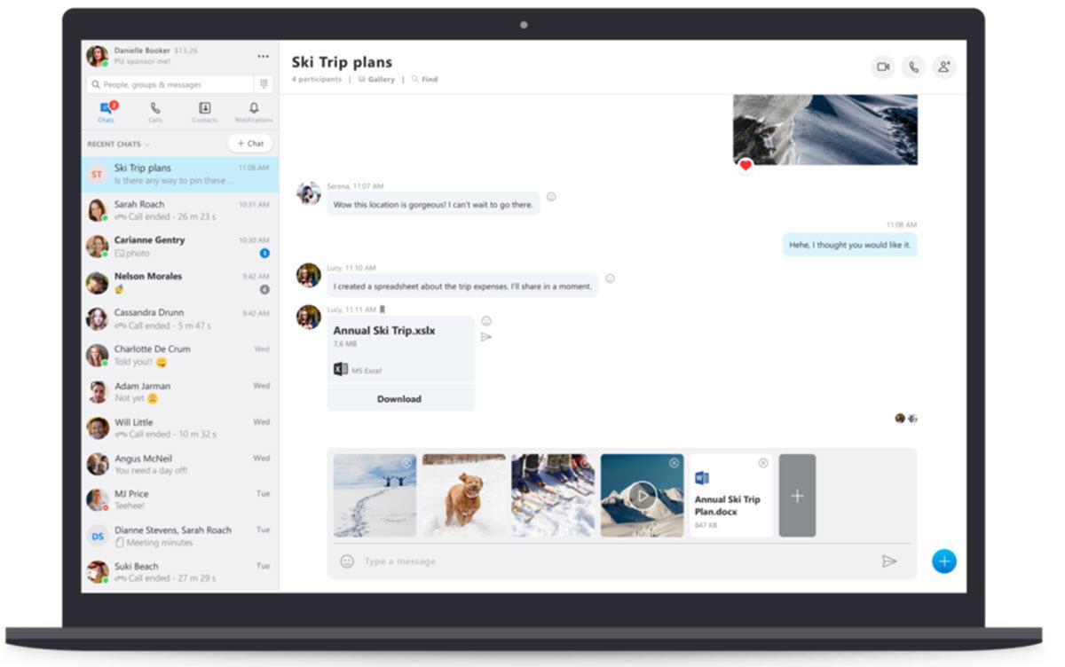 Skype permite enviar mensajes de audio desde el escritorio