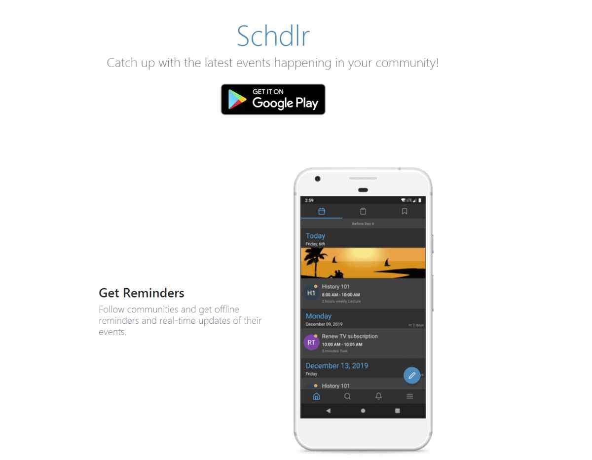 Schdlr, nueva aplicación de calendario para crear y compartir eventos en dispositivos Android