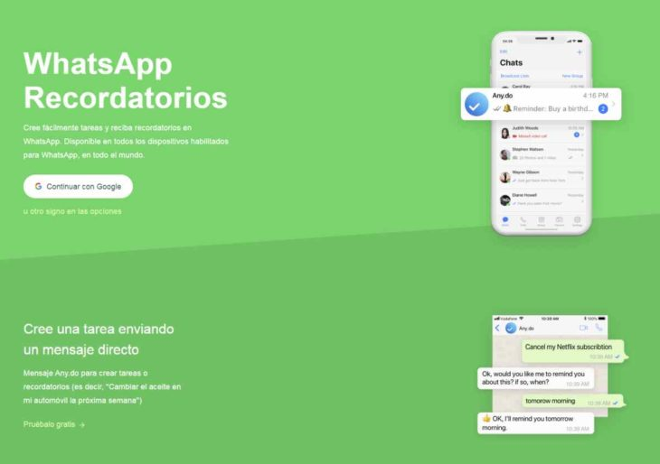 Nueva integración de Any.do permite establecer tareas y recibir recordatorios en WhatsApp