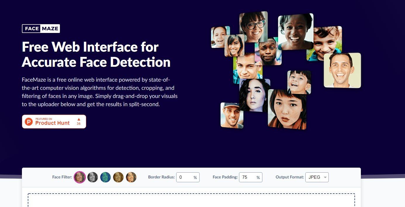 FaceMaze, para detectar y separar los rostros encontrados en una fotografía
