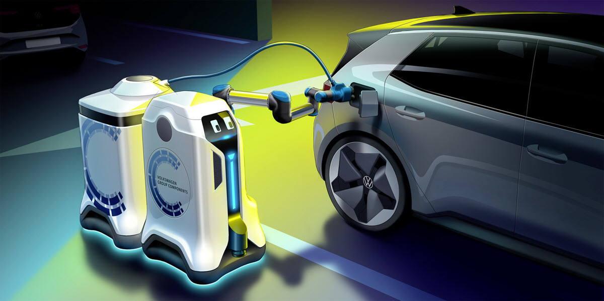 Así es el robot autónomo de Volkswagen que recarga coches eléctricos