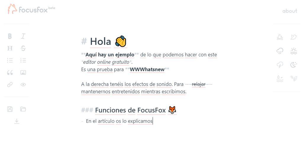 FocusFox, un editor online gratis con efectos de sonido