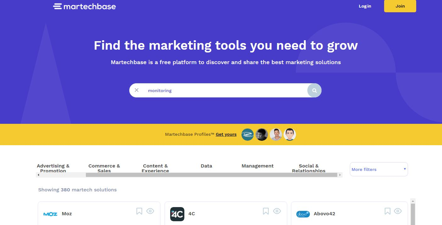 martechbase, un buscador de productos relacionados con Marketing Online