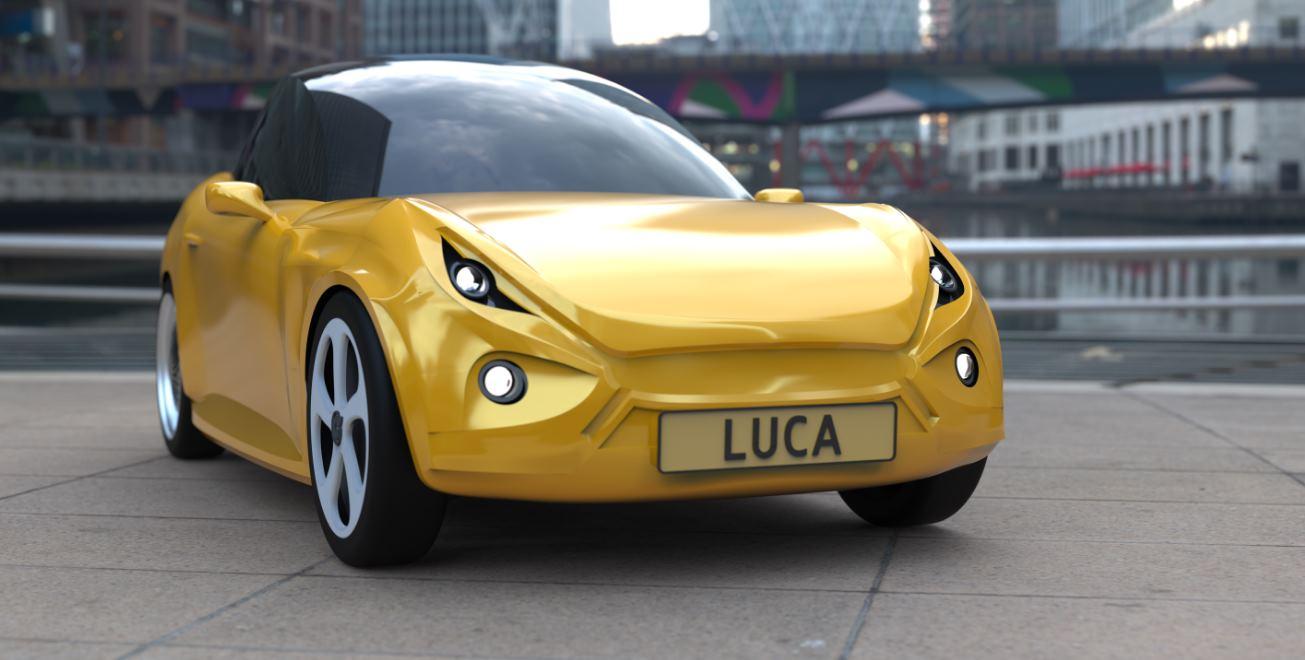 Un coche construido con plástico reciclable