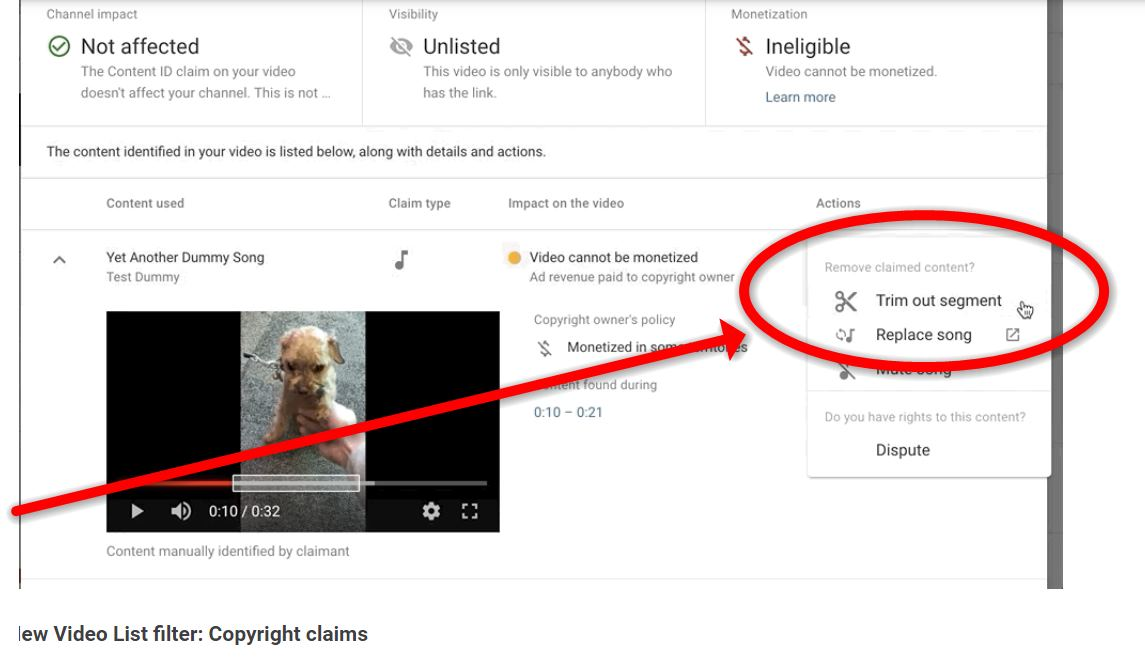 Así podemos quitar de un vídeo de Youtube la parte que infringe derechos de autor