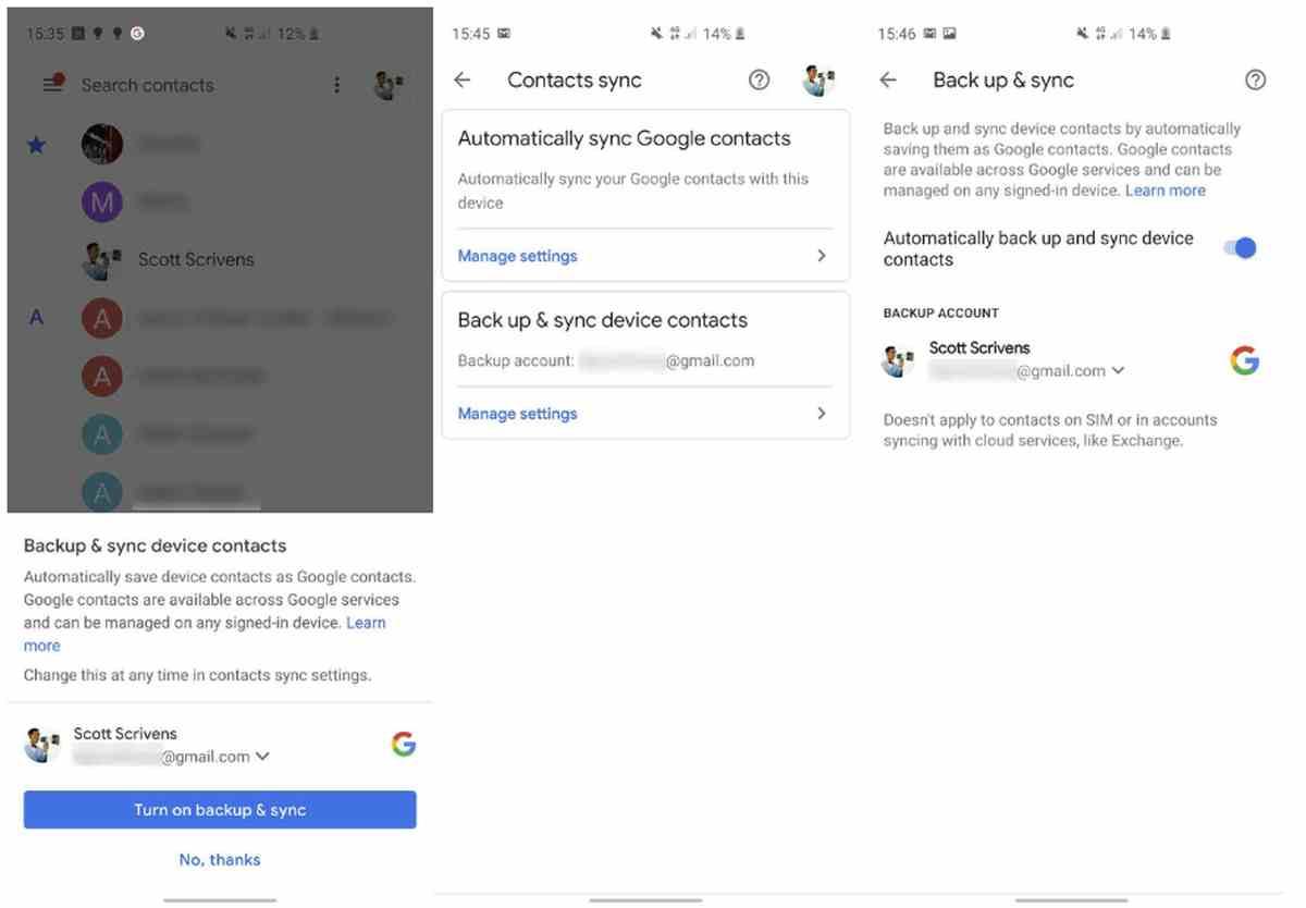 Sincronización y copia de contactos
