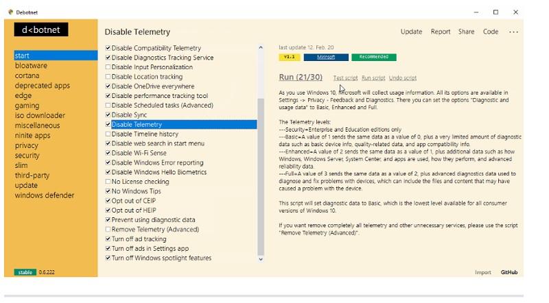 Debotnet, una aplicación para proteger aún más Windows 10