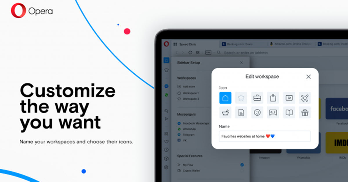 Opera permite crear espacios de trabajo agrupando pestañas