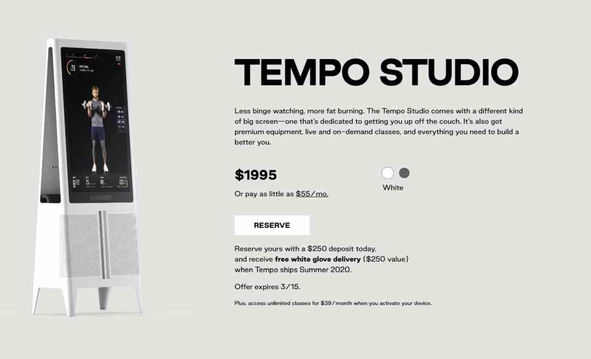 Tempo Studio: el dispositivo de gimnasio inteligente para el hogar