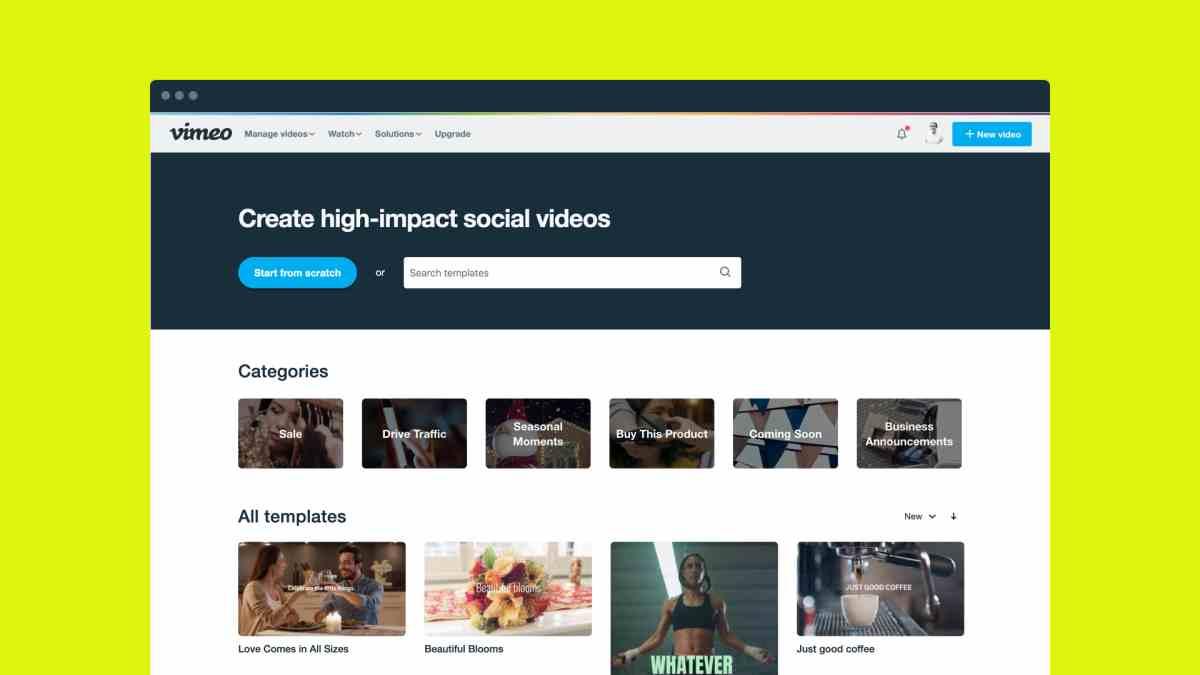 Vimeo Create, para crear y distribuir vídeos profesionales de corta duración, sale de la beta